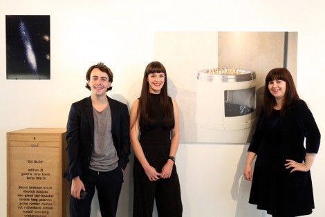 The curators Amy E. Brown, Alejandro Alonso Diaz and Rosie Snaith in their exhibition Falling Fictions at me Collectors Room Berlin